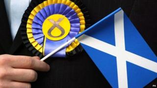 SNP rosette and saltire flag