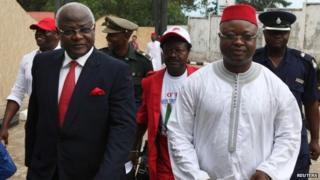 Sierra Leone's President Ernest Bai Koroma (L) and Vice-President Samuel Sam-Sumana in Freetown on 11 October 2012