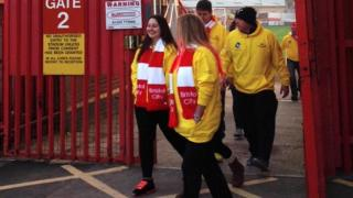 The walkers preparing to leave Ashton Gate on Wednesday.
