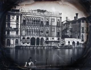 The Frenchman. Venice. The Grand Canal. The Casa d'Oro Under Restoration, 1845. Quarter-plate daguerreotype.