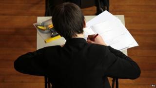 Pupil in maths exam
