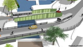 An artists' impression of the MetroBus scheme