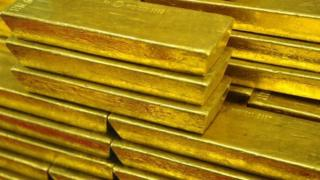 Gold ingots on display