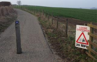Route 1 cycle path between Alnmouth and Warkworth in Northumberland