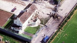 An aerial view of the aftermath of the IRA ambush at Loughgall RUC station in 1987