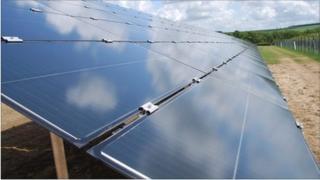 Solar panel farm at Rhosygilwen