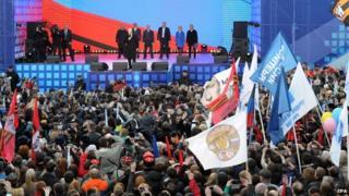 President Putin addresses supporters outside the Kremlin