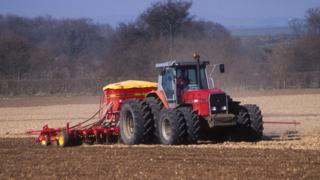 Tractor sowing a field
