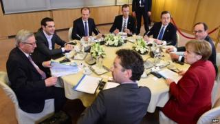 Clockwise from left: European Commission President Jean-Claude Juncker, Greek PM Alexis Tsipras, European Council President Donald Tusk, Secretary-General of the Council of the European Union Uwe Corsepius, European Central Bank President Mario Draghi, French President Francois Hollande, German Chancellor Angela Merkel and Eurogroup President and Dutch FM Jeroen Dijsselbloem meet in Brussels. Photo: 19 March 2015