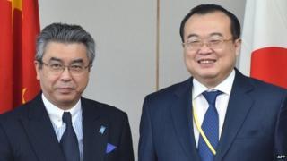 China's deputy foreign minister Liu Jianchao (R) met his Japanese counterpart Shinsuke Sugiyama on Thursday