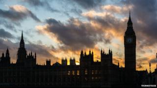 parliament in silhouette against sunset