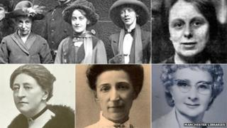 (Clockwise from top left) Lilian Forrester, Annie Briggs and Evelyn Manesta; Mary Quaile; Betty Tebbs; Hannah Mitchell; Margaret Ashton