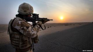 Soldier on patrol in Iraq