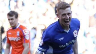 Eoin Doyle celebrates scoring for Cardiff City