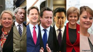 Natalie Bennett, Nigel Farage, Nick Clegg, David Cameron, Ed Miliband, Nicola Sturgeon and Leanne Wood