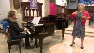 Lesley Garrett in rehearsals at the church ahead of the concert