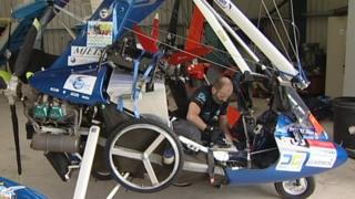 Dave Sykes and his microlight