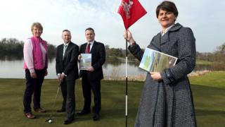 The plan was launched by Malone Golf Club Lady Captain Eleanor McKelvey, Tourism NI golf sales and marketing manager Simon Wallace, Malone Golf Club Captain Peter Law and Enterprise Minister Arlene Foster