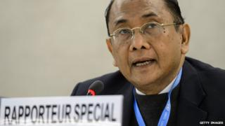Special rapporteur on Gaza and the West Bank, Makarim Wibisono of Indonesia delivers a speech during the Human RightsCouncil session on March 23, 2015 in Geneva