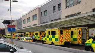 ambulances queuing at Broomfield Hospital