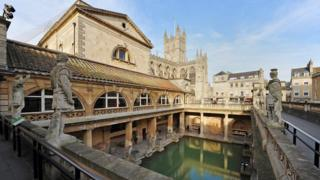 The Roman Baths, Pump Room and Bath Abbey in the background