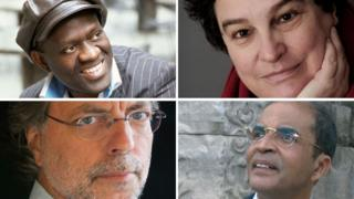 The list includes four African writers (clockwise from top left): Alain Mabanckou, Marlene van Niekerk, Ibrahim al-Koni and Mia Couto