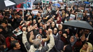 Afghans shout slogans during a protest against the killing of Afghan woman, Farkhunda, in front of the Supreme Court in Kabul, Afghanistan, 24 March 2015