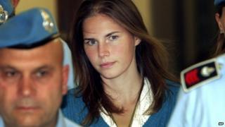 In this Sept. 26, 2008 file photo, American murder suspect Amanda Knox, centre, is escorted by Italian penitentiary police officers to Perugia's court at the end of a hearing, central Italy