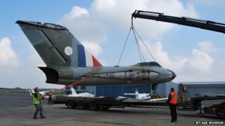 Gloster Javelin being unloaded from a lorry