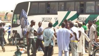 A coach at the bus station in Sabon Gari in Kano, Nigeria