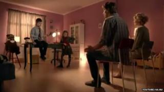 A still from the advert showing the children questioning their parents