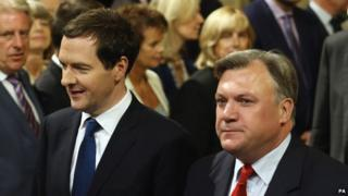 George Osborne and Ed Balls at the Queen's Speech 2014
