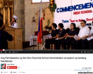 YouTube screenschot from a school graduation speech which went viral in the Philippines