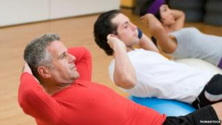Men in a keep-fit class
