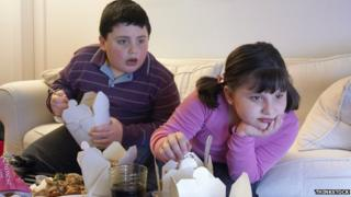 Children eating takeaway