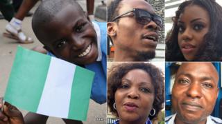 Left: A boy holding a Nigerian flag R: Residents of Lagos