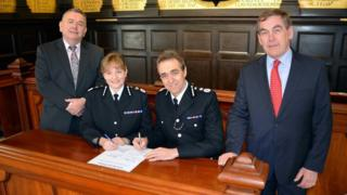 L-R: PCC Martyn Underhill, Chief Constable Debbie Simpson, Chief Constable Shaun Sawyer and PCC Tony Hogg