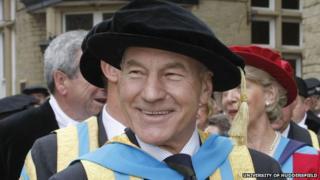 Sir Patrick Stewart in graduation robe