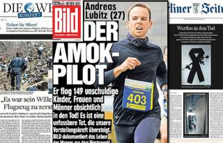 Combo picture of German newspapers' pages
