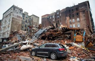 Wreckage of major fire in New York City's East Village