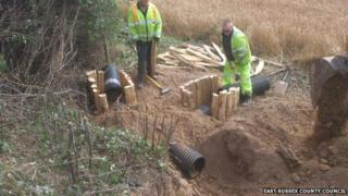 Construction of the new artificial badger setts