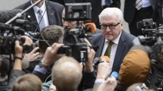 German Minister of Foreign Affairs Frank-Walter Steinmeier speaks to journalists as he arrives for a new round of Iran nuclear talks, in Lausanne, Switzerland