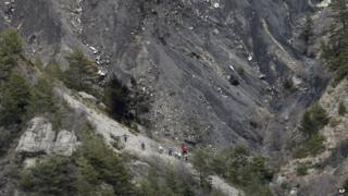 Recovery team at Germanwings crash site in the French Alps, 25 March 2015