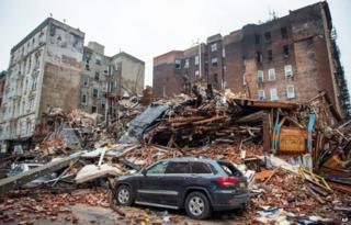 A pile of debris remains at the site of a building explosion in the East Village neighbourhood of New York