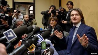 Raffaele Sollecito gives a news conference in Rome