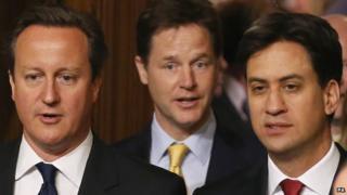 From left, Prime Minister David Cameron, Deputy Prime Minister Nick Clegg and Labour leader Ed Miliband