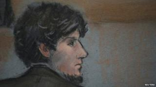 Courtroom sketch of accused Boston Marathon bomber Dzhokhar Tsarnaev