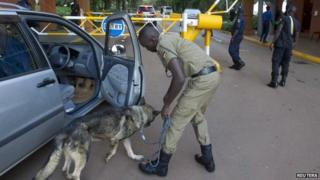 Security checks in Kampala, 26 March