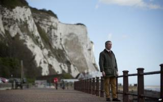 Nigel Farage stands in front of the cliffs of Dover