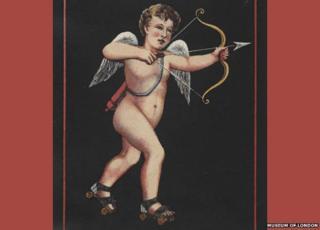 Victorian image of cupid on skates